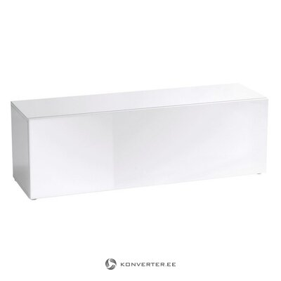White high-gloss TV cabinet (with beauty defects., Hall sample)