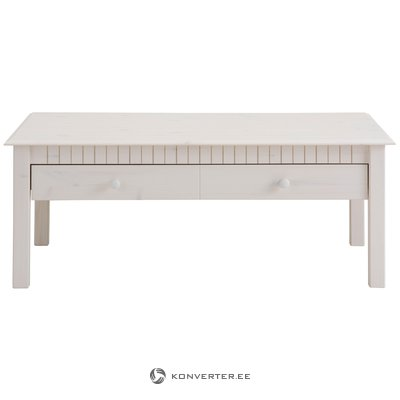 White solid wood coffe table with 2 drawers