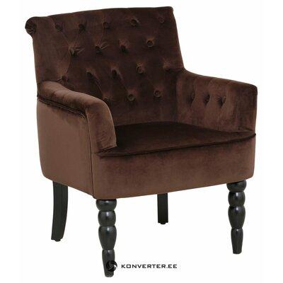 Rudas aksominis fotelis su porankiais