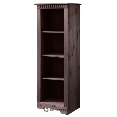 Narrow dark brown shelf of solid wood