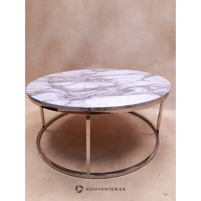 Round marbled coffee table (with defect ,, hall sample)
