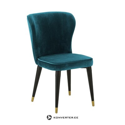 Greenish-blue velvet chair (cleo) (with imperfections hall sample)