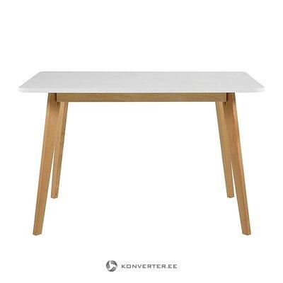 Ruskea ja valkoinen massiivipuinen ruokapöytä (ryöstää)