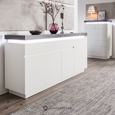 Gray-white chest of drawers with led (namona)