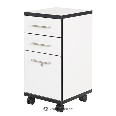 Black and white cabinet on wheels (basix)