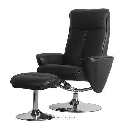 Черное кожаное кресло с табуреткой (vincenzo) (образец зала, с недостатками красоты)