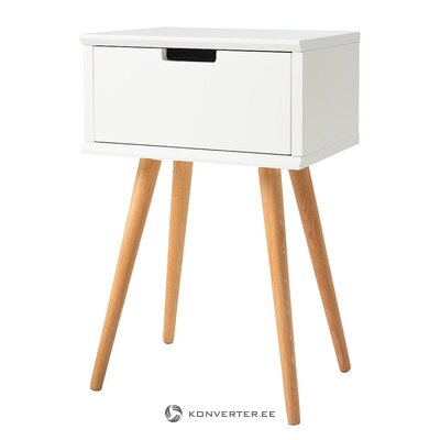White bedside table with oak legs (mitrana) (hall sample, whole)