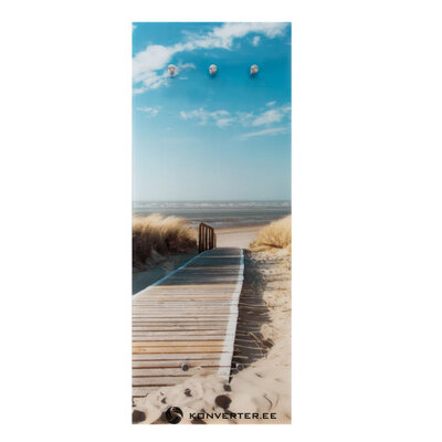 Stiklinė sieninė lentyna su nuotrauka (paplūdimys)