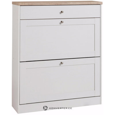 Hector Shoe Chest 2 flaps+1 Drawer - White/S.Oak