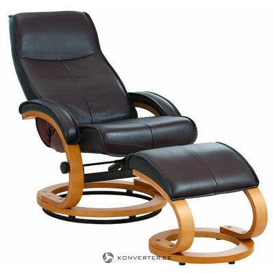 Кресло паприка / пуфик из натуральной кожи / шпон