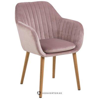 Vaaleanpunainen samettinen nojatuoli (actona) (kokonainen, laatikossa)