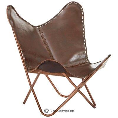 Дизайнерское кресло из кожи коричневого цвета (грубый дизайн) (образец зала, целиком)