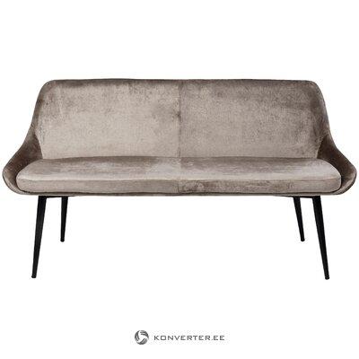 Beige-black velvet bench / sofa leaf (rough design) (with beauty defects., Hall sample)