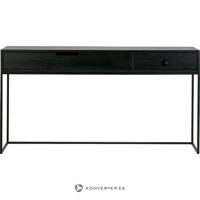 Black solid wood console table with 2 drawers (woood)