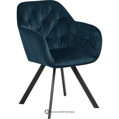 Dark blue velvet armchair lucie (actona)