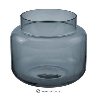 Sininen lasinen kukkamaljakko (lasse) (kokonainen, laatikossa)