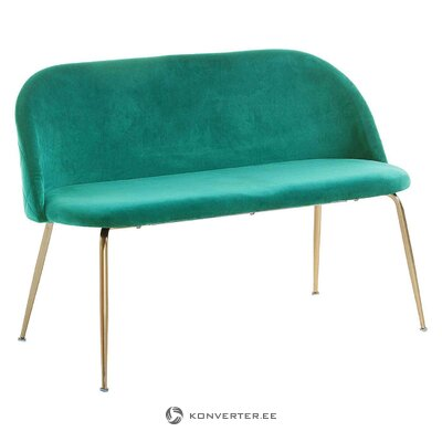 Green velvet bench with backrest (kave home) (whole)