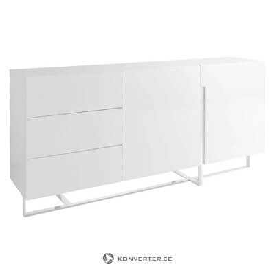 White high-gloss chest of drawers (carla) (with defect  hall sample)