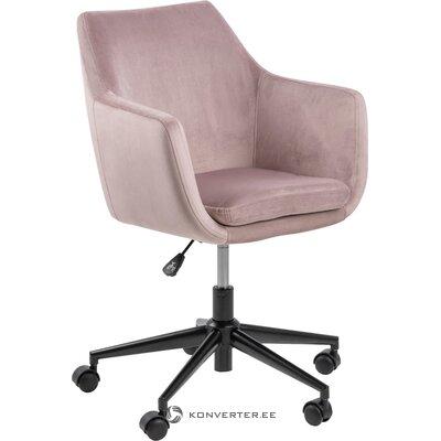 Rožinė aksominė biuro kėdė (Actona)