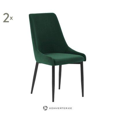 Tamsiai žalia-juoda aksominė kėdė (sierra) (visa, salės pavyzdys)
