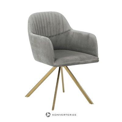 Pilko aksomo pasukamas fotelis (lola) (salės pavyzdys)
