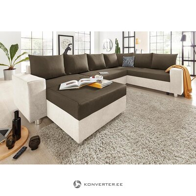 Beige-light brown corner sofa (whole, in box)
