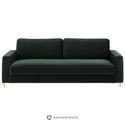 Темно-зеленый бархатный диван (челси) (неполный, образец холла)
