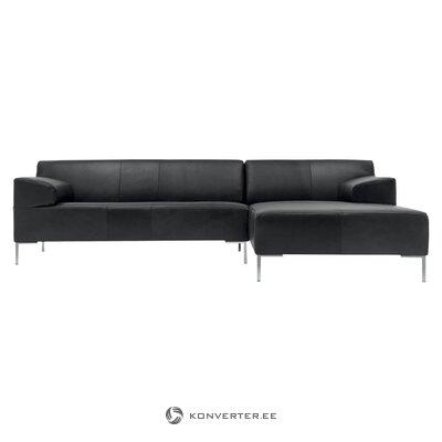 Juoda odinė kampinė sofa ant freisto (rolf benz) (salės pavyzdys, visas)