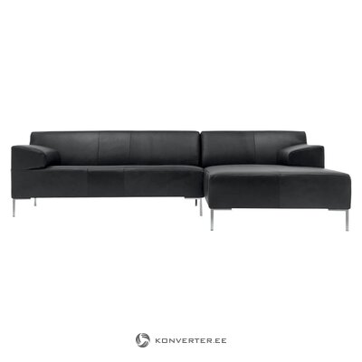Black leather corner sofa on freist (rolf benz) (hall sample, whole)