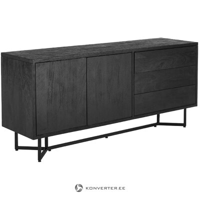 Black solid wood chest of drawers (luca) (with defect, hall sample)