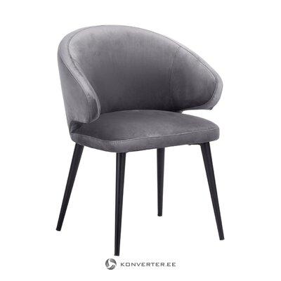 Pelēks-melns samta krēsls (celija) (kastē, vesels)