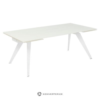 White extendable dining table (rough design) (with flaws, hall sample)