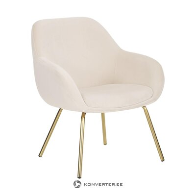 Beige velvet armchair (stool) (whole)
