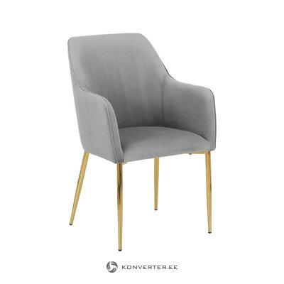 Светлый серо-золотистый бархатный стул (проем) (с изъянами, холл образец)