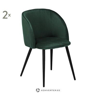 Tumši zaļš samta krēsls (yoki) (viss, zāles paraugs)