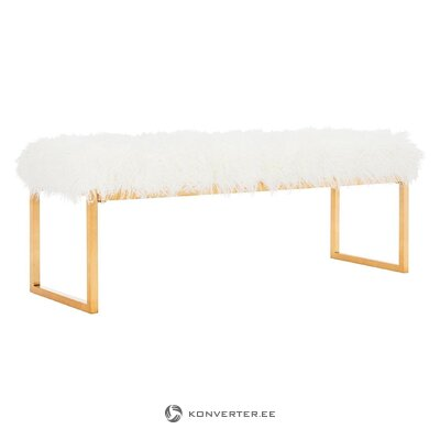 White-golden bench with camel (safavieh)