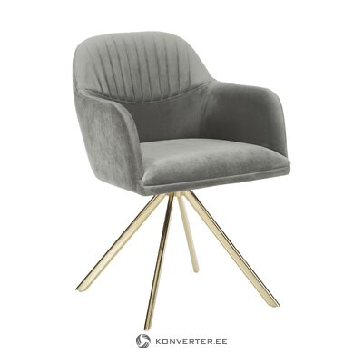 Gray velvet swivel chair (lola)