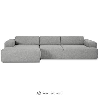 Pilka kampinė sofa (zefyras) (su defektais, salės pavyzdys)