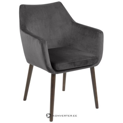 Dark gray velvet armchair (actona)