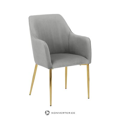 Light gray-golden velvet chair (aperture) (with beauty defects., Hall sample)