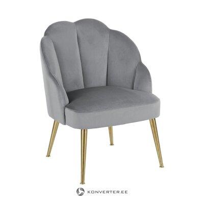 Кресло серо-золотистое бархатное (светлое) (целое, образец зала)