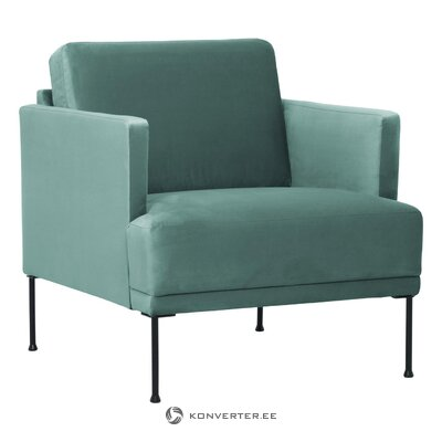 Green velvet armchair (fluente) (hall sample, with beauty defect,)
