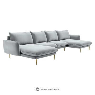 Gray velvet large corner sofa (besolux) (incomplete, hall sample)