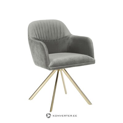 Gray velvet swivel chair (lola) (defects., Hall sample)