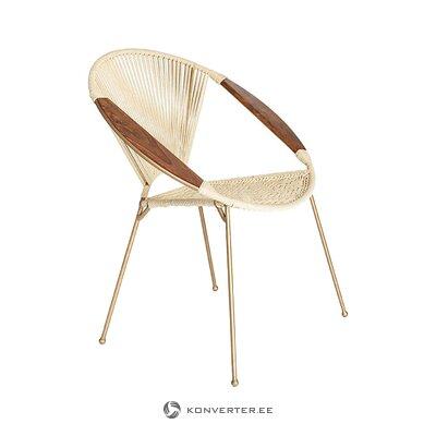 Bēša zelta dizaina krēsls (simla mājas dekorēšana) (kastē, ar skaistuma trūkumu)