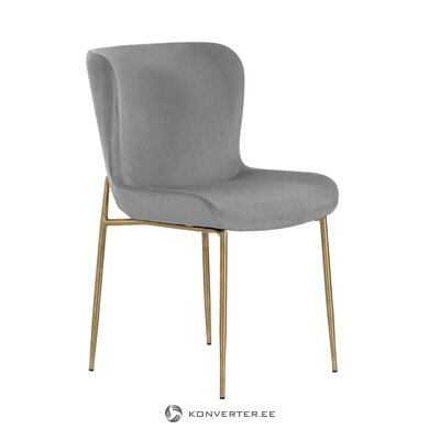 Gray-golden velvet chair (tess) (with beauty defects., Hall sample)