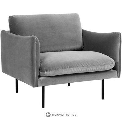 Gray velvet armchair (moby)