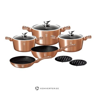 Set of kitchen pots and pans 10-piece rose gold (berlinger haus)