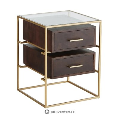 Brown-gold bedside table (lyle) (hall sample small beauty flaw)