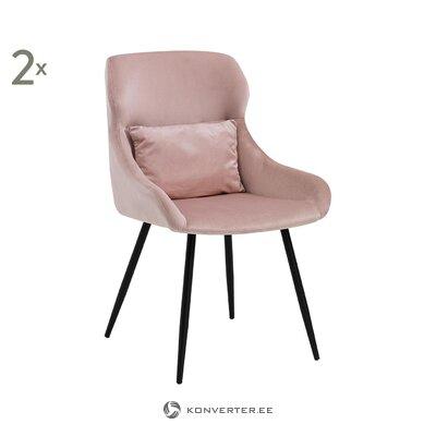 Vaaleanpunainen samettinen tuoli (vikoilla. Hall-näyte)